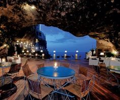 Restaurant in a cave (Grotta Palazzese in Polignano A Mare, in southern Italy)