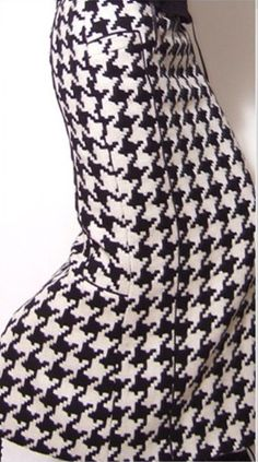 Black White Tartan Pure Wool Long Pencil Skirt