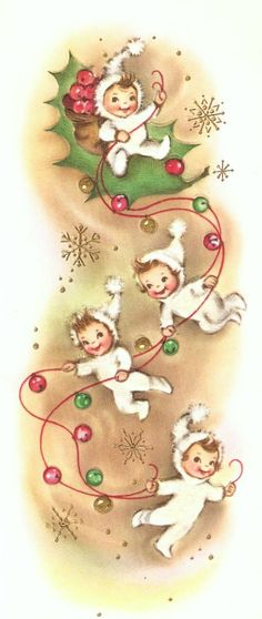 Elves and Jingle Bells Vintage Christmas Card