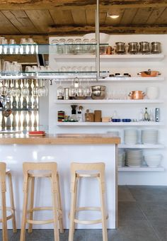 organized open shelf kitchen