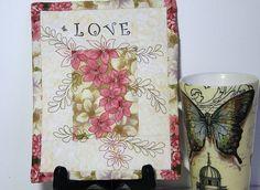 Love Shabby Chic Mini Quilt Thread Art
