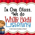 50% off for 48 Hours!  Want a great way to introduce Whole Body Listening skills to your class at the beginning of the year.   This packet includes...