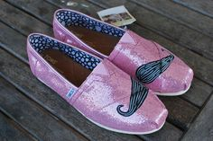 Pink Glitter Mustache TOMS shoes by BStreetShoes on Etsy, $89.00