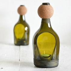 Wine bottle candle lantern