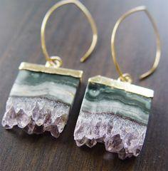 Earrings | Frieda Sophie. Amethyst Stalactite Druzy, 14k Gold