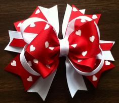 I will give away this bow to a follower of mine when it reaches 100 repins. Red and white Valentine hair bow for little girls or babies  on Etsy, $5.00