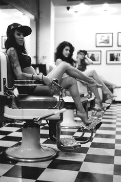 Tatto clad girls in a salon. http://www.dazeddigital.com/fashion/article/17106/1/rodarte-ss14