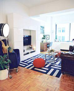 . carpet tiles, poufs, colors, carpets, blue white, apartments, rugs, live room, blues