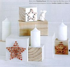 Wood block candle stands