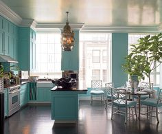turquoise and metallic turquoise, kitchen colors, tiffany blue, robin egg blue, cabinet, blue kitchens, aqua, blues, dream kitchens