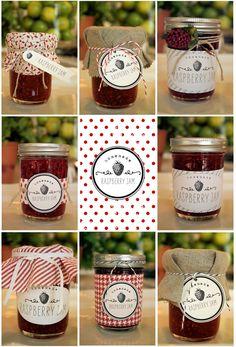 Imprimibles gratis para decorar tarros de mermelada de frambuesa + sugerencias de presentación + receta >> Free printable rapsberry jam labels + recipe