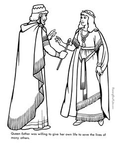Queen Ester - Bible coloring page to print