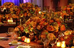 autumn / fall place settings, table setting,wedding decor,reception ideas,flowers,wedding centerpieces