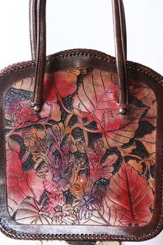 Fashion Handbag Vintage leather purse Tooled by GrandmaHadItGoinOn