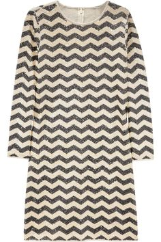 Zigzag-striped sequined dress
