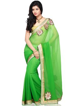 Shaded Green Faux Chiffon Saree with Blouse @ $72.00