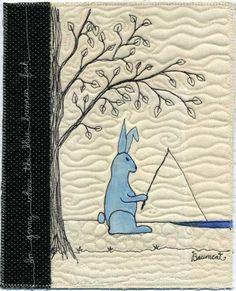 Where the blue bunnies fish, 8 x 10, by Cathy Baumgartner at Baumcat
