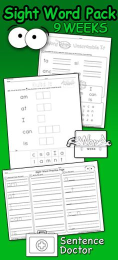 Sight Word Pack: Kindergarten-2nd Grade First 9 weeks is kindergarten and beginning first grade. Can be used for work work, centers, morning work, homework, and early finishers. Many activities such as mixed up words, mixed up sentences, cut and paste, and more! The best way for students to learn sight words is repetition and this pack gives students the opportunity to practice 5 words a week. Watch their reading levels rise as their sight word vocabulary grows! Word Wall