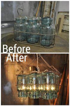 Flip Vintage Canning Jars (We Love!) in a Rack Upside Down, Add Lights to Make an Awesome Chandelier