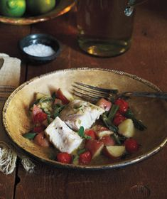 Chili-Braised Fish With Tomatoes and Potatoes recipe from realsimple.com #myplate #protein #vegetables