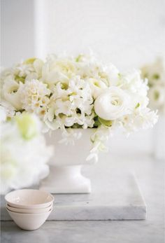 White floral arrangements.