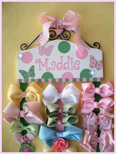 HAIR BOW HOLDER - Personalized - All Custom Orders - Butterfly butterflies Hair Bow Holder for Girls HairBow Holder for babies Bow Orangizer. $69.95, via Etsy.