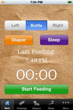iPhone Tracking for the feeding basics. Helps stay on top of things when you can't remember your name.