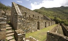 A 15th-century wall at Choquequirao, whose nearly 200 slope terraces were built about 6,000 feet above the glacier-fed Apurímac River.  (Courtesy Gihan Tubbeh/PromPeru)