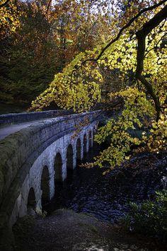 Stone bridge across Derwent River in Derbyshire, England