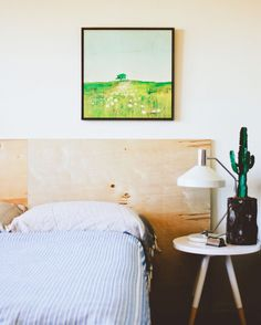 plywood headboard with hairpin legs