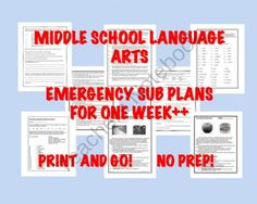 """Middle School Lang Arts """"No-Prep"""" Printables: Emergency Sub Plans for One Week+ from Stuck in the Middle on TeachersNotebook.com -  (77 pages)  - SEVENTEEN unique """"print and go/no prep"""" printables that can be easily used by any substitute teacher. Each is two-four pages and was created to take about 30 minutes depending on teacher involvement."""
