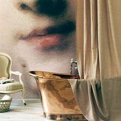 baths, wall art, interior design, copper, photo walls, bathtubs, wall murals, bathrooms, decorations