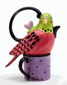 Pink & Green Parakeet Teapot for One