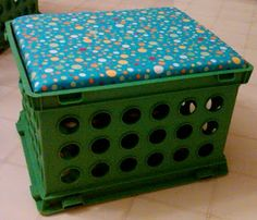 Crate Stool..great Idea for the kids stuff when camping.. they can have their own activity stools : )