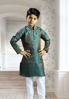 Deep Turquoise Brocade Readymade Kurta with Churidar Online Shopping: UND38