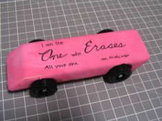 eraser pinewood derby car