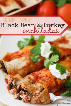 Skinny Chipotle Black Bean and Turkey Enchiladas at http://therecipecritic.com  These are absolutely amazing and only 278 calories and 5 WW points!  A must try!