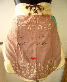 Vintage Potato Apron with French Fry Recipe