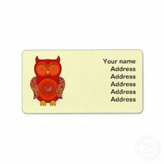 #Red Psychedelic #Owl Personalized Address Labels