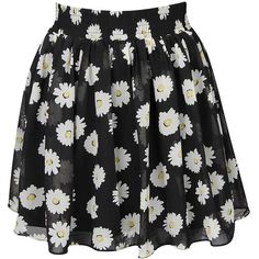 Black Floral Print Mini Skirt ($32) ❤ liked on Polyvore