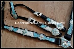 split tack set of patent turquoise/white on black leaher