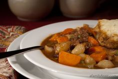 Savory Beef Stew with Thyme Dumplings - so delicious!