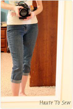 DIY skinny-leg capris...I LOVE her blog! SO much good stuff! craft, diy jeans to capris, sewing tips, diy jean capris, jeans to capris diy, capri diy, 11 skinni, sewing tutorials, skinni capri