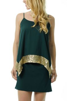 WOW. Gorgeous #Baylor green and gold cocktail dress!