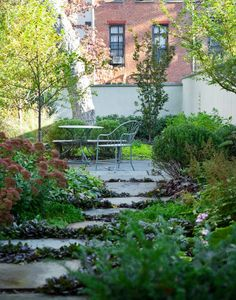 Kim Hoyt Landscape Architects Lush Brooklyn Garden After Rain with Cafe Seating, Gardenista