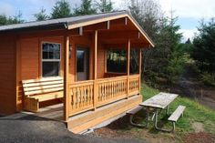 "This must be ""glamping"" - state park cabins for rent in Oregon"