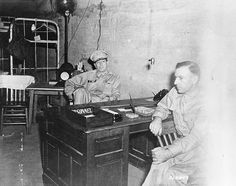 MacArthur and Sutherland in the headquarters tunnel on Corregidor, Philippines, 1 Mar 1942