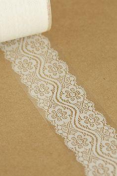 Transparent Wide Lace Tape.  Wrap around mason jars for centerpieces.