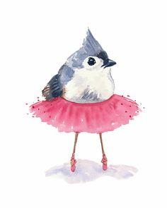 Ballet Bird Watercolor Print - Tufted Titmouse, Ballet Art, 5x7 Illustration   <3pinkpetalsanstems<3