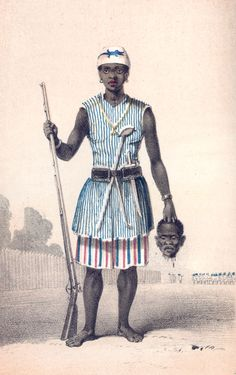 "Seh-Dong-Hong-Beh, a leader of the Dahomey Amazons (Mino), ""a Fon all-female military regiment of the Kingdom of Dahomey..."" At the end of the 19th century, the kingdom was conquered by the French, who claimed they were ""hesitant"" to fight the Amazons. ""However...the French army lost several battles to them—not because of French 'hesitation,' but due to the female warriors' skill in battle that was 'the equal of every contemporary body of male elite soldiers from among the colonial powers.'"""